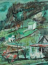 RAY MICHIE (American, 20th century). HILLSIDE IN SPRING, signed lower right. Gouache.