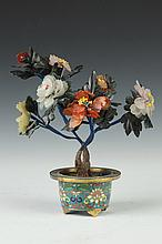 CHINESE HARDSTONE TREE AND CLOISONNÉ CACHE POT. - 8 in. high.