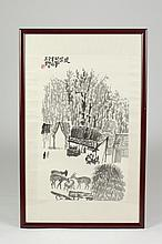 AFTER SHI LU (Chinese, 1919-1982). VILLIAGE SCENE, Ink on paper, signed, sealed and framed.