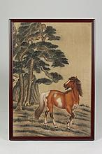 ANONYMOUS (Chinese, late Qing/early Republic Period). HORSE, Ink and color on silk, framed.