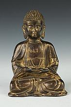 CHINESE BRONZE FIGURE OF BUDDHA. - 7 1/4 in. high.