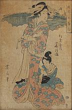 UTAGAWA KUNISADA (Japanese, 1786-1864). GEISHA, Four color woodcuts, signed, sealed and framed.