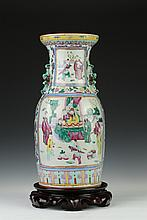 CHINESE ROSE MANDARIN PORCELAIN VASE, 19th Century. - 17 1/4 in. high.