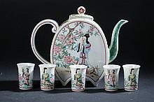 JAPANESE POLYCHROME PORCELAIN WINE POT AND FIVE CUPS. - 6 1/2 in. high.
