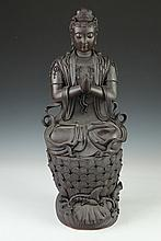 CHINESE YIXING FIGURE OF GUANYIN, - 21 1/4 in. high.