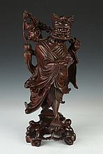 CHINESE WOOD FIGURE OF IMMORTAL, - 17 in. high.