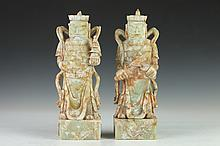 TWO CHINESE SOAPSTONE FIGURES OF IMMORTALS SEALS, TUO TA TIAN WANG, ZENG CHANG TIAN WANG. - 12 in. high.