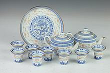 ELEVEN PIECES CHINESE IRON RED, BLUE AND WHITE PORCELAIN WINE SET, Marked