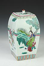 CHINESE FAMILLE ROSE PORCELAIN JAR AND COVER, Tongzhi iron red seal mark. - 13 in. high.
