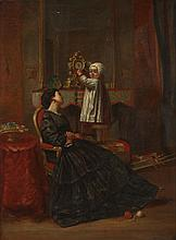 ORGANE (19th/20th century). MOTHER AND CHILD, signed lower right. Oil on board.
