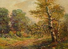 DEVOGL (American, 20th century). TREE LINED ROAD, signed and dated '12 lower right. Oil on board.