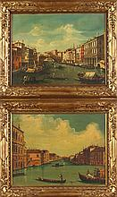 CONTINENTAL SCHOOL (20th century). VENETIAN SCENES: PAIR, oil on cavas.