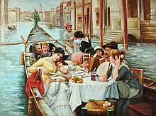 CONTINENTAL SCHOOL (20th century). BOATING PARTY, giclee on canvas.