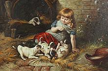 CONTINENTAL SCHOOL (20th century). GIRL WITH PUPPIES, giclee on canvas.