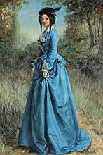 CONTINENTAL SCHOOL (20th century). LADY IN BLUE, giclee on canvas.