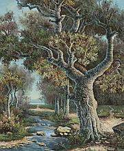 CONTINENTAL SCHOOL (20th century). TREE BY CREEK, gicless on canvas.