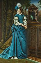 CONTINENTAL SCHOOL (20th century). LADY IN BLUE WITH MIRROR, giclee on canvas.
