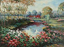 CONTINENTAL SCHOOL (20th century). LANDSCAPE WITH RED HOUSE, giclee on canvas.