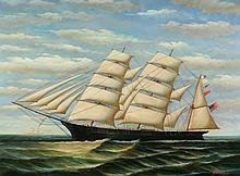 CONTINENTAL SCHOOL (20th century). TWO SHIPS, giclee on canvas.