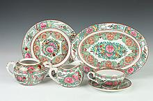 CHINESE ROSE CANTON PORCELAIN TEA SERVICE, Marked