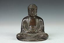 JAPANESE BRONZE FIGURE OF BUDDHA, - 6 in. high.
