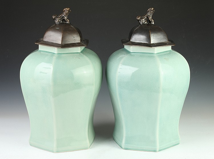 PAIR CHINESE CELADON PORCELAIN HEXAGONAL VASES AND BRONZE COVERS, - 15 1/2 in. high.
