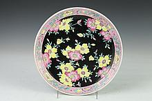 JAPANESE POLYCHROME PORCELAIN CHARGER, - 10 7/8 in. high.