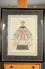 BING RAN (Chinese, 20th Century). EMPEROR AND EMPRESS, Two ink and color on paper. Signed, sealed and framed.