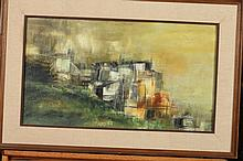 GIUSEPPE LA PALOMBARA (Italian, 20th century). ABSTRACT HOUSE, signed lower right. Oil on board.