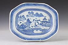 CHINESE CANTON BLUE AND WHITE PORCELAIN PLATTER, 19th Century. - 11 5/8 in. long.