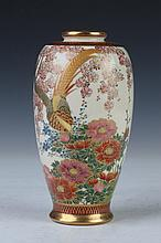 JAPANESE SATSUMA EARTHENWARE VASE, - 7 in. high.