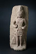 CAMBODIAN STONE FIGURE OF DEITY. - 17 1/2 in. high.