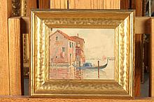 CONTINENTAL SCHOOL (20th century). VENETIAN SCENE, signed illegibly lower left. Oil on board.