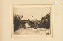 CONTINENTAL SCHOOL (20th century). LANDSCAPES AND STREET SCENES: SIX WORKS, assorted prints including two etchings, one lithograph and