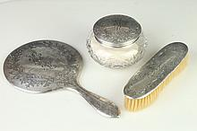 THREE-PIECE ALVIN STERLING SILVER DRESSER SET.