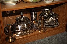 GROUP SILVER PLATED HOLLOWWARE.
