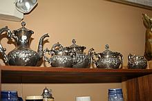 FIVE-PIECE MERIDEN SILVER PLATED TEA AND COFFEE SERVICE. - 9 in. high, coffee pot.