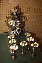 SILVER PLATED HOT WATER URN AND SIX GLASSES. - 16 1/2 in. high, urn.