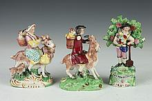 THREE STAFFORDSHIRE FIGURES, 18th-19th century. - 6 in. tallest.