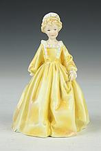 ROYAL WORCESTER FIGURE OF GRANDMOTHERS DRESS, Modeled by F.G. Doughty, RoNo 799938. - 6 1/2 in. high.