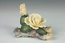 ROYAL WORCESTER BONE CHINA YELLOW ROSE. - 4 1/2 in. high.