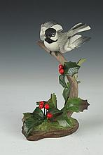 BOEHM PORCELAIN FIGURE BLACK CAPPED CHICKADEE. 40195. - 8 in. high.