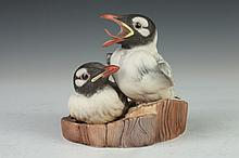 BOEHM PORCELAIN FIGURE GROUP OF BIRDS, Numbered 5-8-26. - 6 in. high.