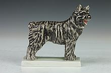HEREND PORCELAIN FIGURE OF A DOG, - 5 1/2 in. high.