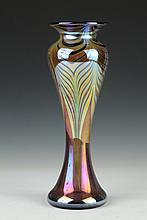 STUART ABELMAN IRIDESCENT ART GLASS VASE, 2002, V363ND-9. - 12 in. high.