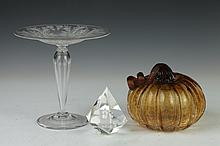 THREE PIECES ART GLASS, - 6 3/4 in. x 7 in., compote.