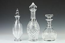 THREE CRYSTAL DECANTERS. - 13 1/4 in. high, largest.