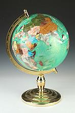 CONTEMPORARY INLAID SEMI-PRECIOUS GEMSTONE GLOBE ON BASE. - 21 in. high.