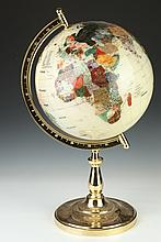 CONTEMPORARY INLAID SEMI-PRECIOUS GEMSTONE GLOBE ON BASE. - 24 in. high.