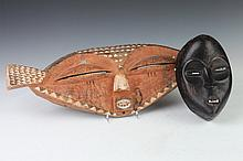 TWO AFRICAN WOOD MASKS, - Larger: 24 in. long.